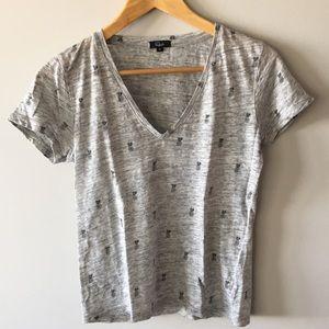 Rails V neck Linen T-shirt